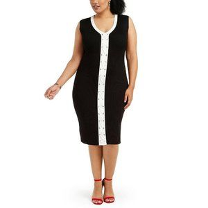 New Planet Gold 1X Plus Size Lace-Up Bodycon Dress